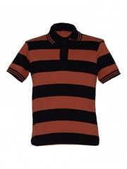 Alladin-Black/ Orange Stripped Mens Polo Shirt black/orange s