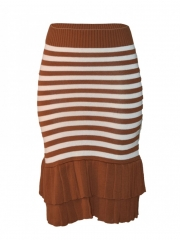 Alladin-Knitted Stripped Brown And White Midi Skirt brown/white stripped m