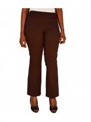 Alladin-Straight Leg Pull On Classic pant chocolate brown 14