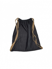 Alladin-Black Denim Drawstring Bag black denim 18 by 16.3 Inches