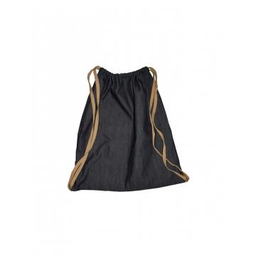 Alladin-Black Denim Drawstring Bag black denim 18 by 16.3 Inches