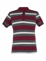 Alladin- Maroon Striped Mens Polo Shirt maroon striped s cotton