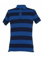 Alladin-Navy/ Blue Striped Mens Polo Shirt navy/blue striped s cotton