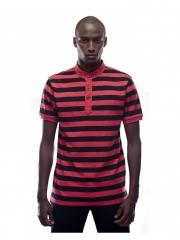 Alladin-Black / Red Round Neck Button T-shirt black/red l cotton