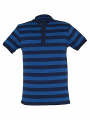 Alladin-Navy / Blue Round Neck Button T-shirt navy/blue s cotton