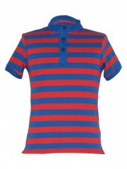Alladin-Red / Blue Round Neck Button T-shirt red/blue s cotton