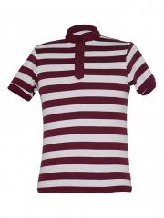 Alladin-Grey / Maroon Round Neck Button T-shirt grey/maroon s cotton