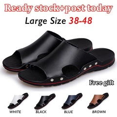 Lowest Price Men's Leather Sandals Non-slip Slides Soft Sole Slipper Male Casual Fashion Shoes black 38