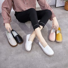 【READY STOCK】Women's Casual Loafers Women's Flat Work Moccasin Shoes Women's Fashion Shoes white 35