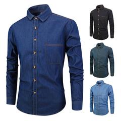 Men's Autumn Cotton Solid Color Denim Shirt Fashion Slim Casual Long Sleeve Shirt Blue S