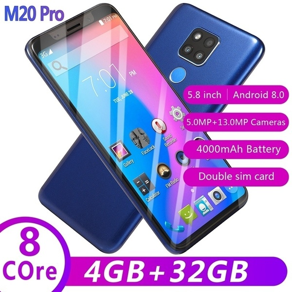CiCi 2019 New M20pro smart phone 5.0/5.8inch HD full screen 8 core running 4+32GB+128Gmemey card black 5.0