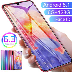 CiCi 6.3 Inch 6G +128G+128G memory card Face Recognition Dual SIM Card Dual Standby  Smart phone red