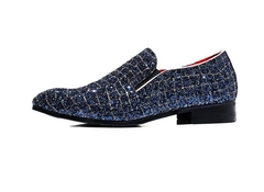 Fashion Grids Pattern Leather Loafers Shining Sequins Formal Dress Shoes Big Size Mens blue 44 leather