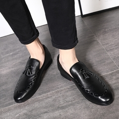 Men's Tassel Loafers Exquisite Wedding Party Formal Leather Shoes Men High Quality Fashion Luxury black 41 leather