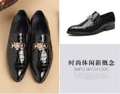 38~48 Plus Size Mens Leather Shoes Crocodile Pattern Slip On Dress Shoes Men Loafers Pointed black 41 leather