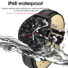 Smart Watch Men ECG+PPG HRV Heart Rate Blood Pressure Monitor IP68 Waterproof Smart Bracelet black leather one size