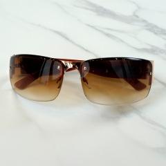 Male and Female Universal Sunglasses Fashion Half-frame Sunglasses Fashion Accessories tan one size