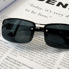 Male and Female Universal Sunglasses Half-frame Ultra-light Anti-fatigue Sunglasses black one size