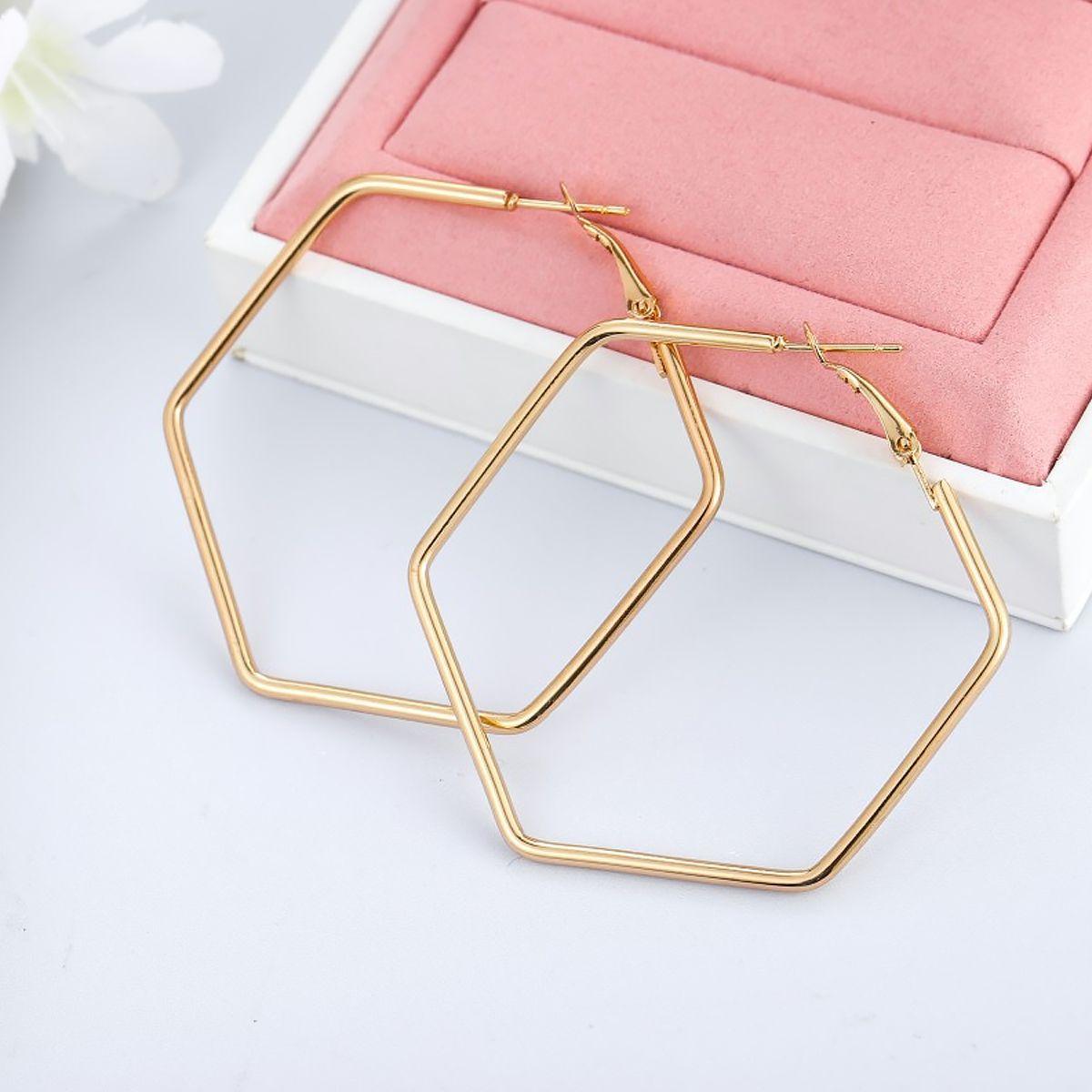 New Fashion Geometric Style Earrings Big Hexagonal Circle Earrings Women Fashion Accessories golden 5.0CM