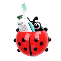 1PC Ladybug Cartoon Suction Cup Wall Mounted Toothbrush Holder Red
