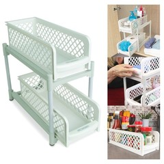 Portable 2 Tier Non-Skid Basket Drawers white