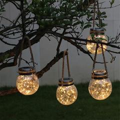 Solar Lamp Mason Jar LED Light Crack Glass Bottle Lantern warm white 120x120x130mm 0.2