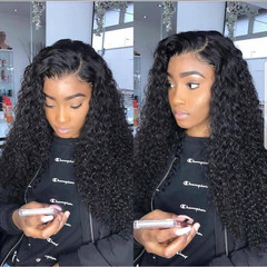 Fashionable synthetic  wig black small curl long curl cos lady wig hair cover spot hair Black one size