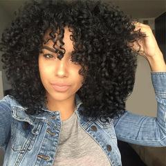 female Africa small curly hair bouffant explosion hair medium long curly hair chemical fiber hair black 14inch