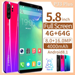 P33 Pro 5.8inch Mobile Phone Smartphones 4g+64g Face/Fingerprint 4G GPS Dual SIM 8MP+16MP red