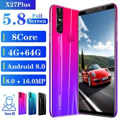 X27 Plus Android 9.1 Smartphone 5.8 inches Large memory 4GB+64GB fingerprint face unlock red