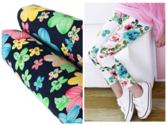 Girls Cotton Leggings Floral Prints (3,4,5,6,7 Years) Comfortable Stretchy white 6-7 years