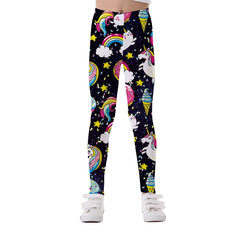 Girls Leggings (3-10 Years) Unicorn Colorful Prints Stretchy Comfortable black 3-4 years
