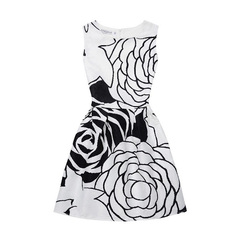 Girls Summer Party Casual Dresses (8-12 Years) Variety of 5 Designs Floral Prints Black & White 9-12 Years