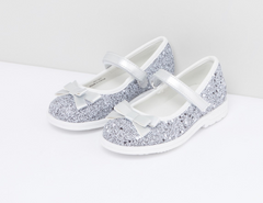 Glitter and Bow Shoes Euro Size 29 - Clearance Last pc - Silver Euro 29