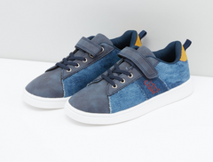 Textured Lace-Up Denim Style Shoes - Size Euro 31 blue euro 31