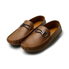Mens Casual Fashion Peas Shoes Suede  Men Loafers Moccasins Men's Flats Male Driving Shoes Brown 43