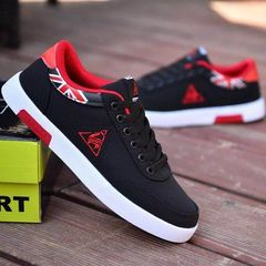 Men Canvas Shoes Low To Help Flat Outdoor Sports Shoes Youth Trend Men  Sports Running Shoes Red 44