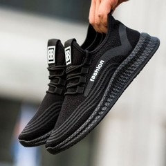 New Running Shoes For Men Outdoor Breathable Light weight Boost Shoes Athletic Training Sneakers Black 43