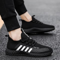 Men Shoes Breathable Flats Casual Male Shoes Rubber Fashion Walking Footwear Sneakers Black 42