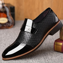 Man Flat Oxford Dress Shoes Wedding Pointed Toe Shoes Male Business Formal Shoes Black 42 PU