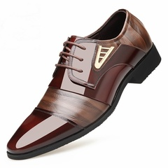 Men England Formal Leather Shoes Loafers Oxford Shoes Male Casual Wedding Slip on Shoes brown 42 PU