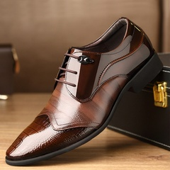 Men Fashion Lace-up Breathable Business Casual Pointed Toe Formal Shoes Brown 42 PU