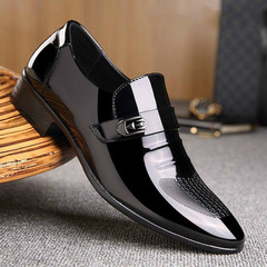 Men's Fashion Casual Leather Shoes Business Male Oxfords Wedding Dress Shoes black 43 PU