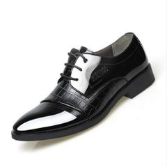 Dress Shoes Fashion Business Design Oxford Wedding Shoes pointy toe cover men's shoes  Formal Shoes black 44 pu