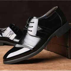 Men's Dress Shoes Fashion PU Leather Men Business Flat Shoes Black  Breathable Men Formal  Shoes black 44 pu
