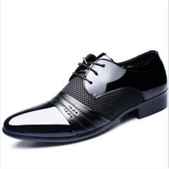Men Business Dress Loafers Pointed Toe Black Shoes Breathable Formal Wedding Shoes black 41 pu