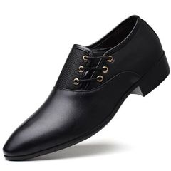 Single Shoes Male PU Leather Shoes Business Men Dress Shoes Solid Fashion  Lace-Up Leather Shoes black 44 pu