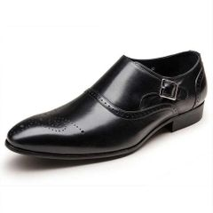 Business Men's  Shoes Fashion Elegant Shoes PU Leather Dress Shoes With single Buckle Wedding shoes black 45 pu
