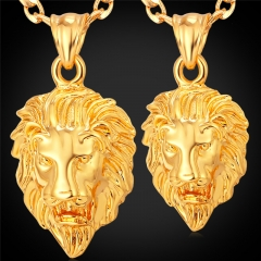 Hiphop Men/Women 18K Gold/Platinum/Black Gun Plated Figaro 2 Size Lion Head Pendant Necklace gold plated big one size