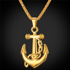 Anchor Pendant Necklace Punk Rock Stainless Steel 18K Gold Plated Viking Men Jewellery 18k Gold Plated one size